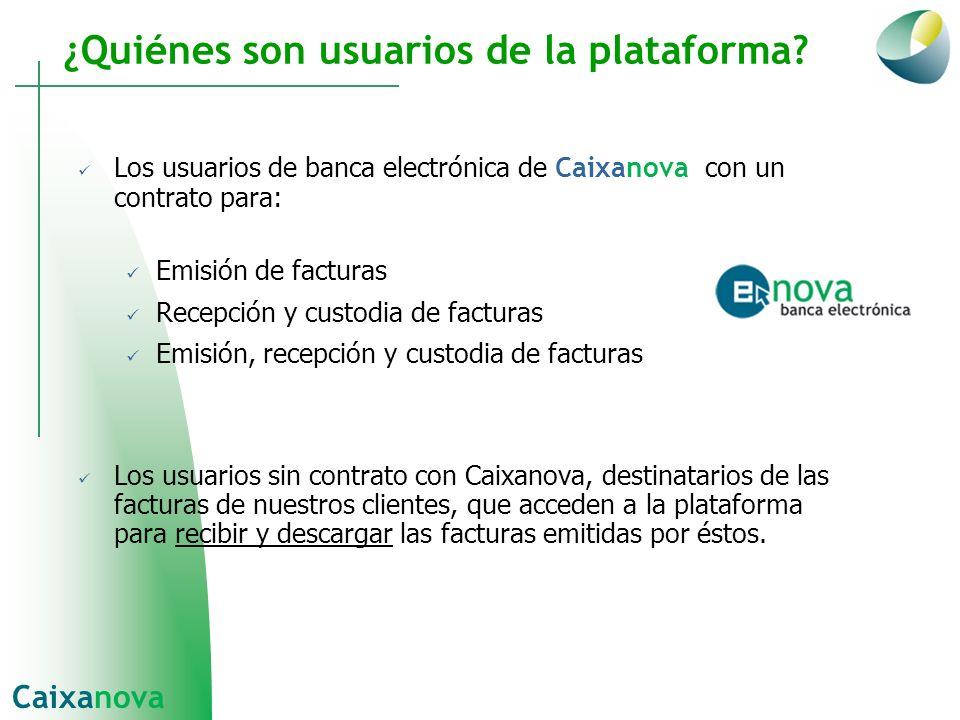 Los usuarios de banca electrónica de Caixanova con un contrato para: Emisión de facturas Recepción y custodia de facturas Emisión, recepción y custodi