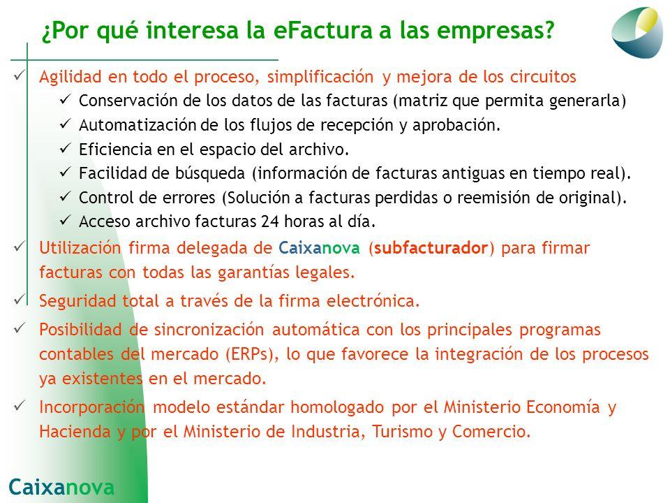 ¿Por qué interesa la eFactura a las empresas? Agilidad en todo el proceso, simplificación y mejora de los circuitos Conservación de los datos de las f