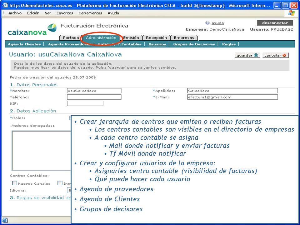 Crear jerarquía de centros que emiten o reciben facturas Los centros contables son visibles en el directorio de empresas A cada centro contable se asi