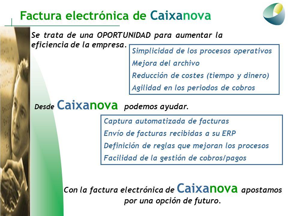 Factura electrónica de Caixanova Se trata de una OPORTUNIDAD para aumentar la eficiencia de la empresa. Simplicidad de los procesos operativos Mejora