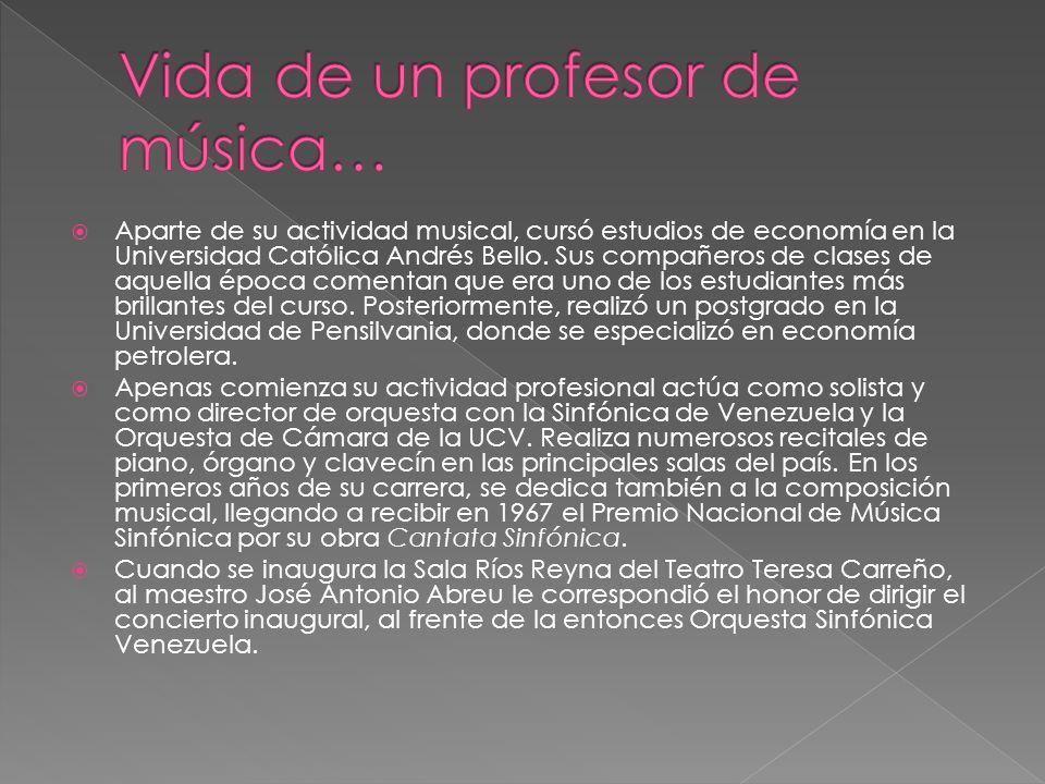 Aparte de su actividad musical, cursó estudios de economía en la Universidad Católica Andrés Bello.