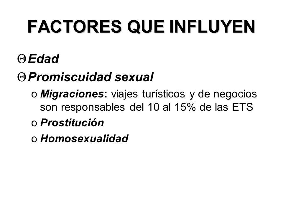 FACTORES QUE INFLUYEN Θ Edad Θ Promiscuidad sexual oMigraciones: viajes turísticos y de negocios son responsables del 10 al 15% de las ETS oProstituci