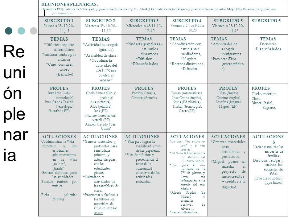 Re uni ón ple nar ia REUNIONES PLENARIAS: Diciembre (22). Balance de lo trabajado y previsiones trimestre 2º y 3º. Abril (14) Balance de lo trabajado