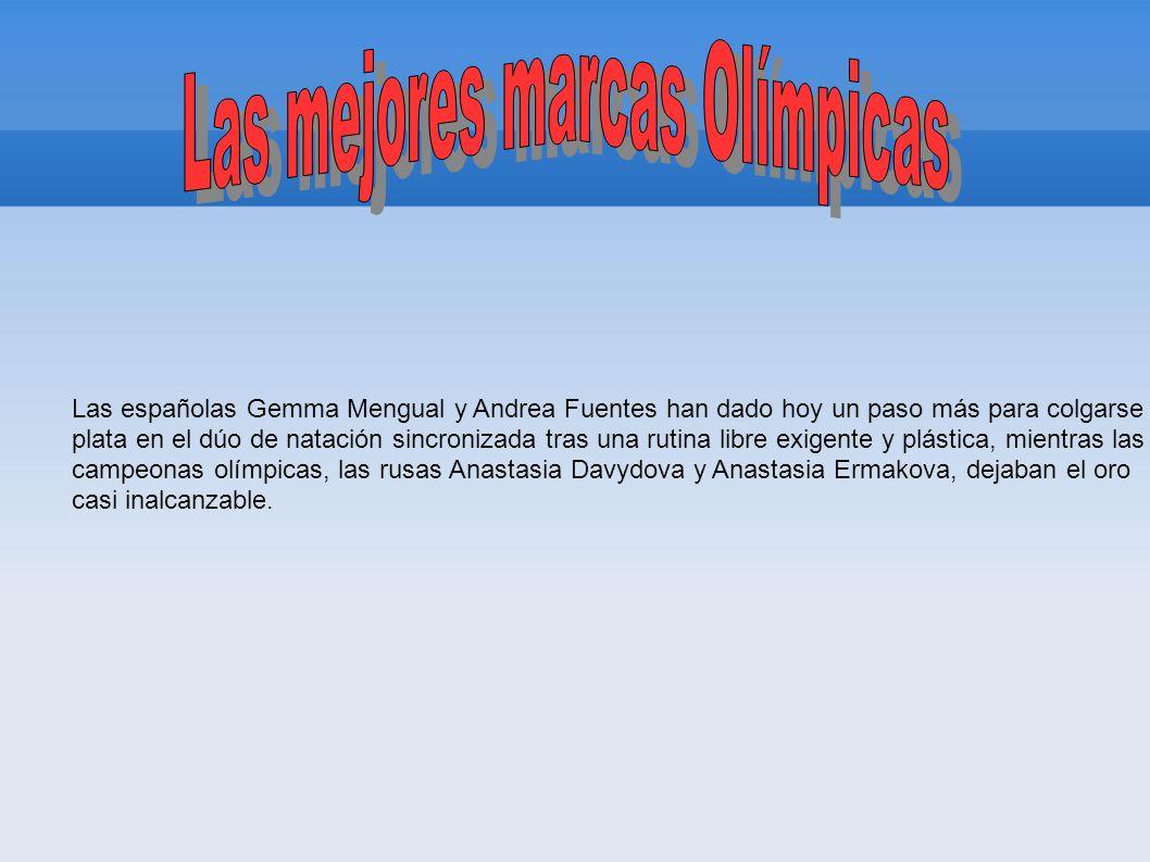 Las españolas Gemma Mengual y Andrea Fuentes han dado hoy un paso más para colgarse la plata en el dúo de natación sincronizada tras una rutina libre