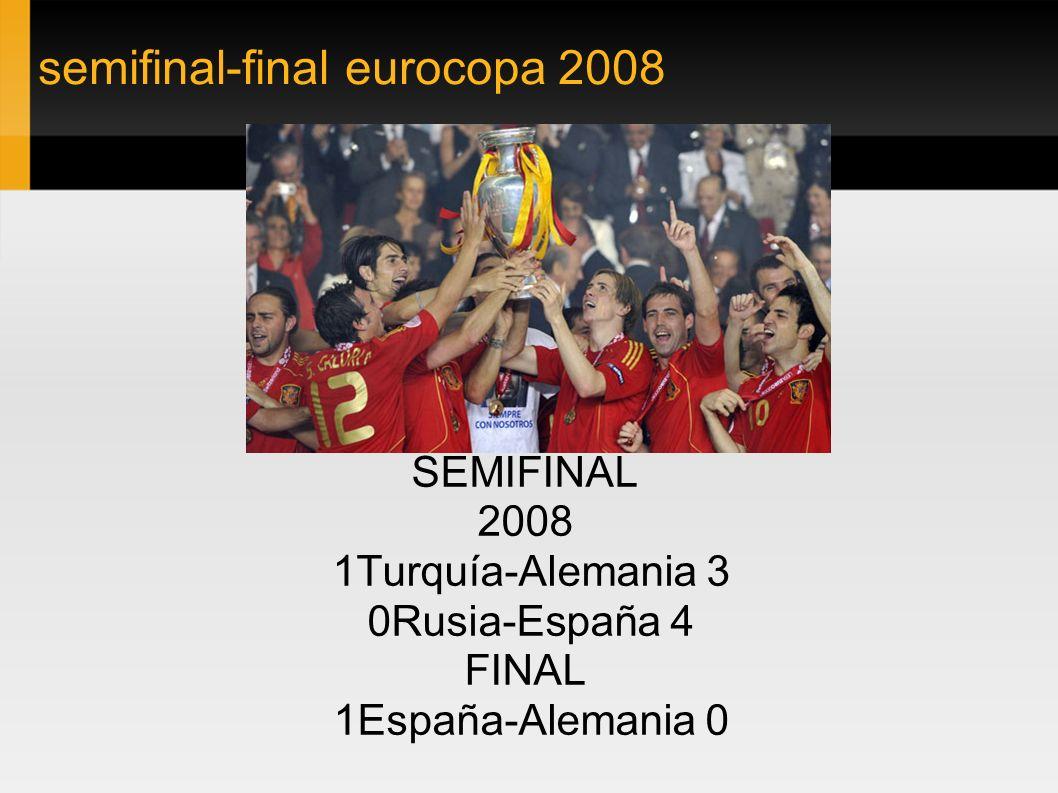 semifinal-final eurocopa 2008 SEMIFINAL 2008 1Turquía-Alemania 3 0Rusia-España 4 FINAL 1España-Alemania 0