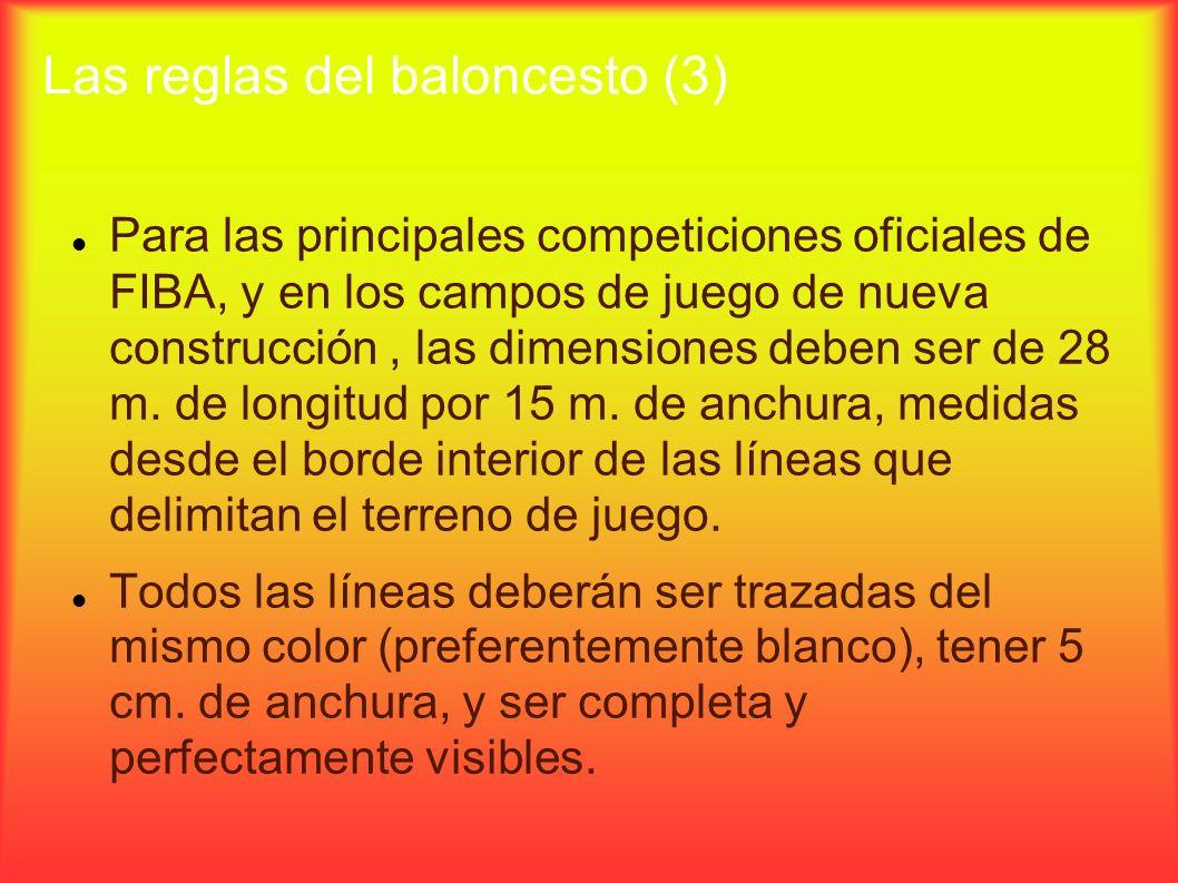 Las reglas del baloncesto (3) Para las principales competiciones oficiales de FIBA, y en los campos de juego de nueva construcción, las dimensiones de