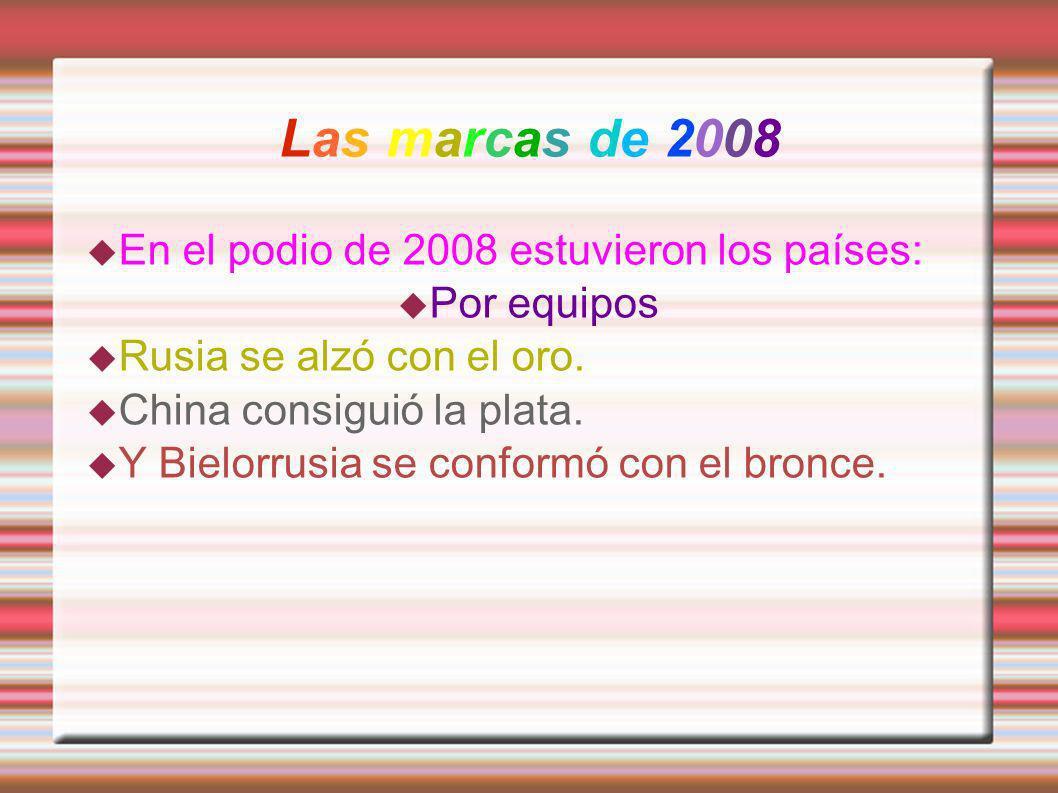 Las marcas de 2008 En el podio de 2008 estuvieron los países: Por equipos Rusia se alzó con el oro. China consiguió la plata. Y Bielorrusia se conform