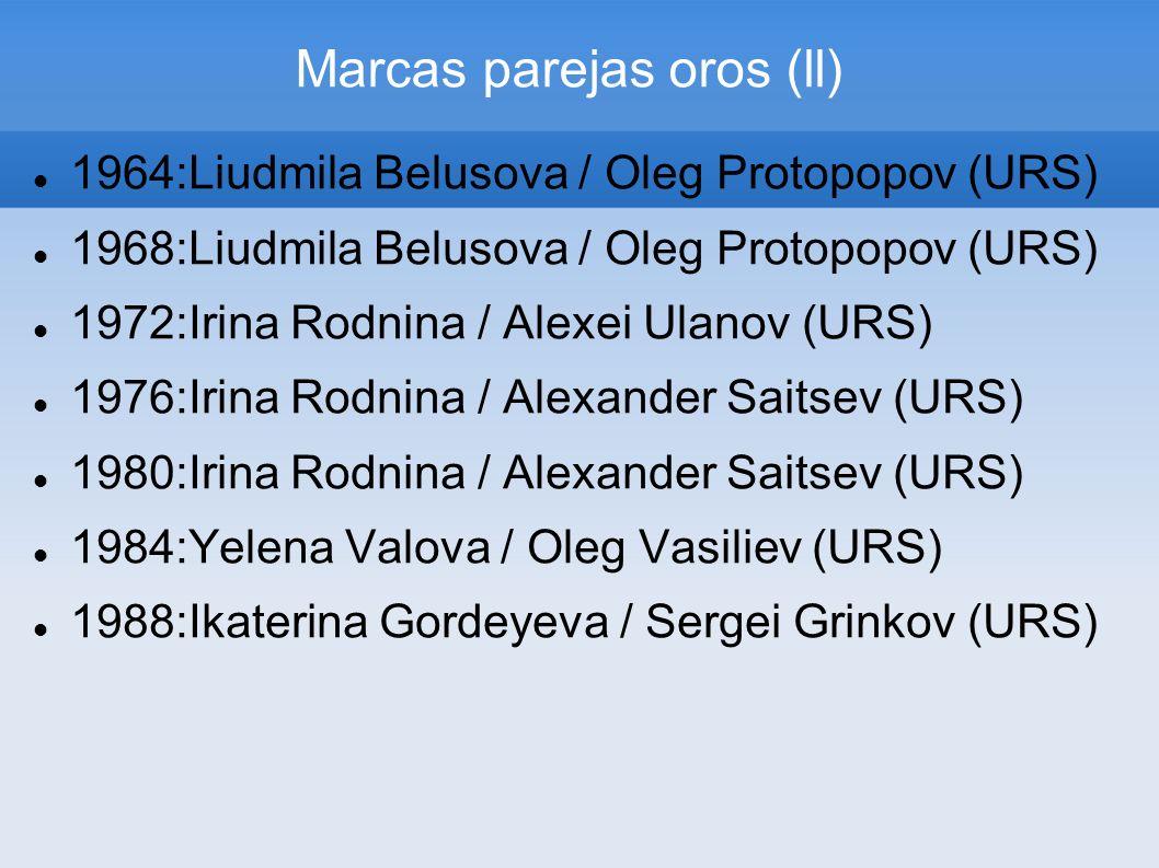Marcas parejas oros (ll) 1964:Liudmila Belusova / Oleg Protopopov (URS) 1968:Liudmila Belusova / Oleg Protopopov (URS) 1972:Irina Rodnina / Alexei Ula