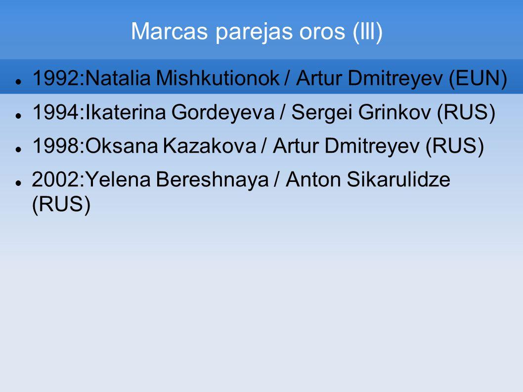 Marcas parejas oros (lll) 1992:Natalia Mishkutionok / Artur Dmitreyev (EUN) 1994:Ikaterina Gordeyeva / Sergei Grinkov (RUS) 1998:Oksana Kazakova / Art