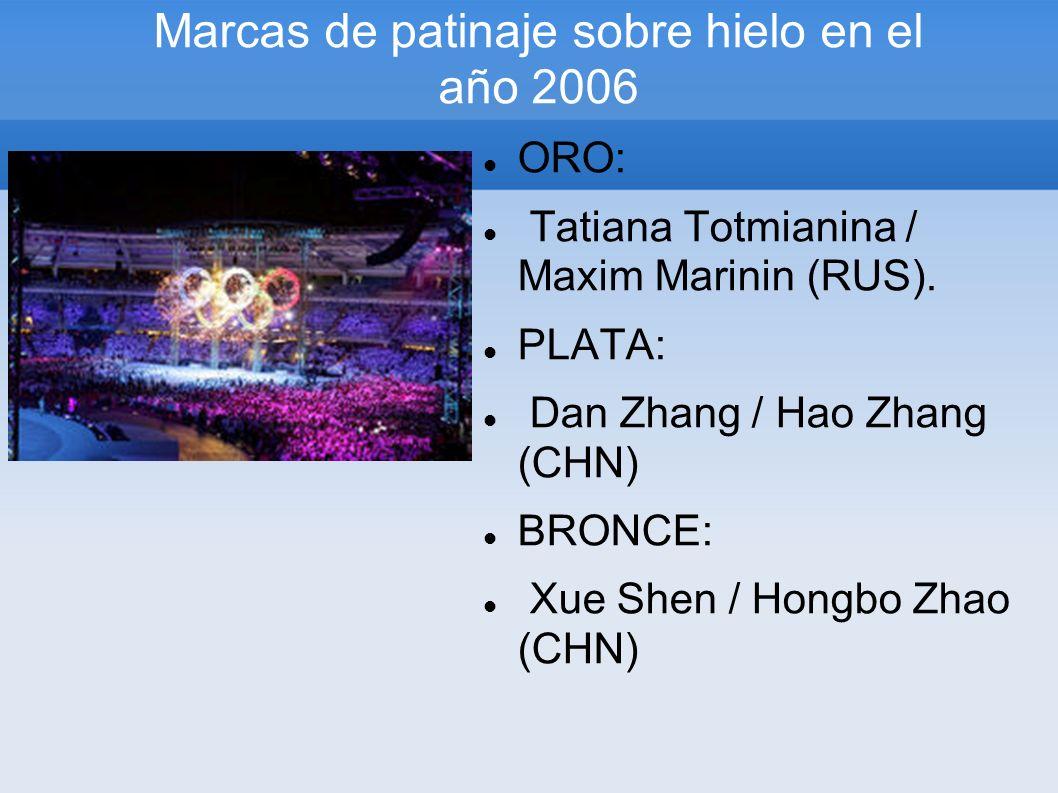 Marcas de patinaje sobre hielo en el año 2006 ORO: Tatiana Totmianina / Maxim Marinin (RUS). PLATA: Dan Zhang / Hao Zhang (CHN) BRONCE: Xue Shen / Hon