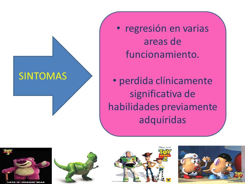 SINTOMAS regresión en varias areas de funcionamiento. perdida clínicamente significativa de habilidades previamente adquiridas