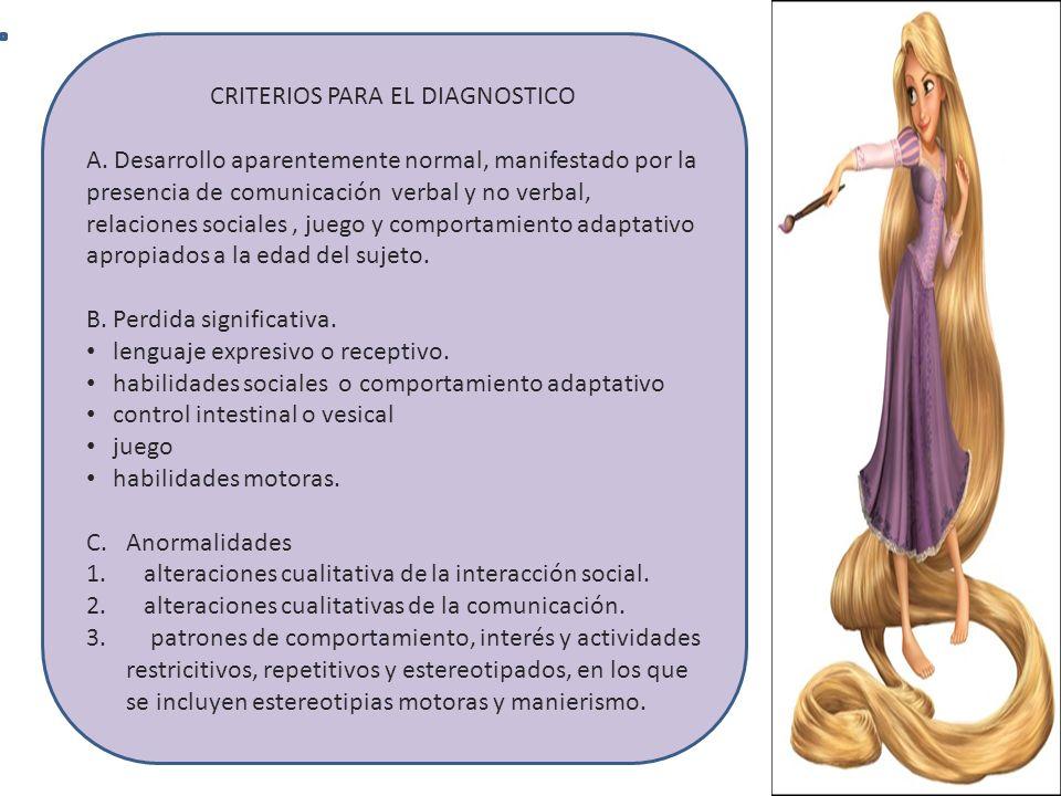 CRITERIOS PARA EL DIAGNOSTICO A. Desarrollo aparentemente normal, manifestado por la presencia de comunicación verbal y no verbal, relaciones sociales