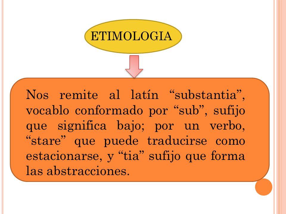 ETIMOLOGIA Nos remite al latín substantia, vocablo conformado por sub, sufijo que significa bajo; por un verbo, stare que puede traducirse como estaci