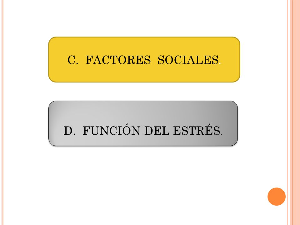 C. FACTORES SOCIALES. D. FUNCIÓN DEL ESTRÉS.
