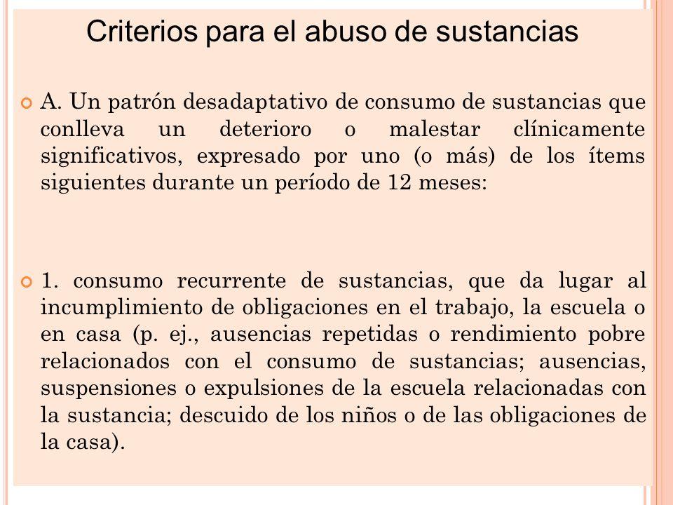 DIAGNOSTICO DIFERENCIAL Criterios para el abuso de sustancias A. Un patrón desadaptativo de consumo de sustancias que conlleva un deterioro o malestar