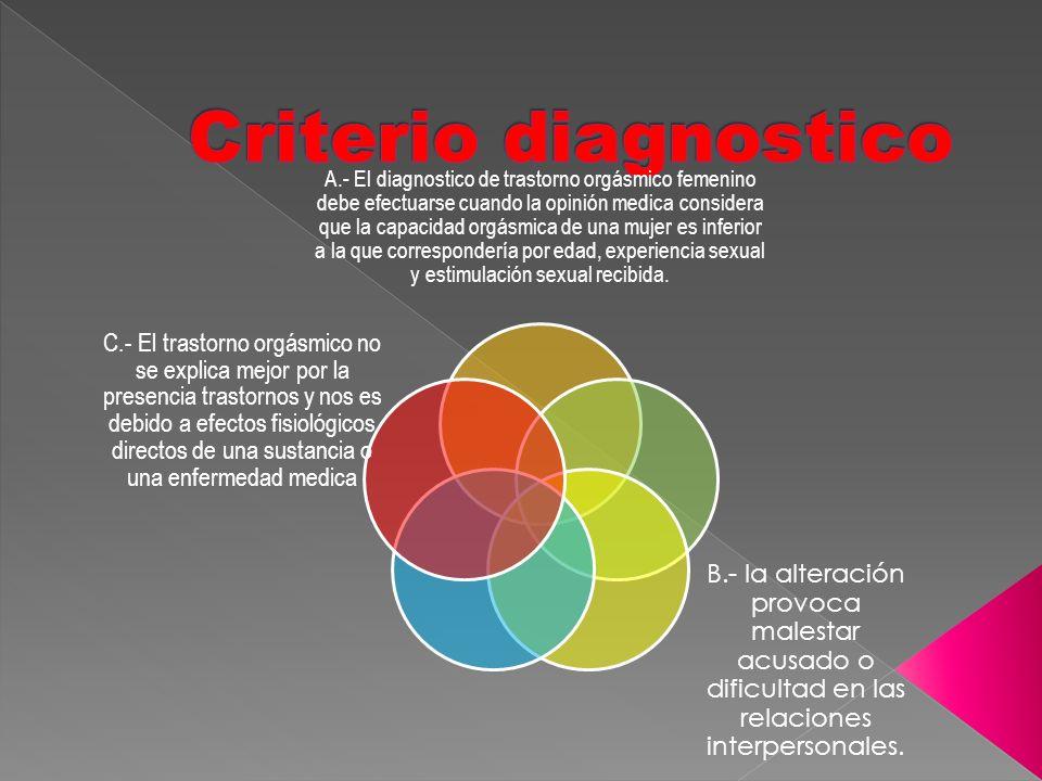 A.- El diagnostico de trastorno orgásmico femenino debe efectuarse cuando la opinión medica considera que la capacidad orgásmica de una mujer es infer