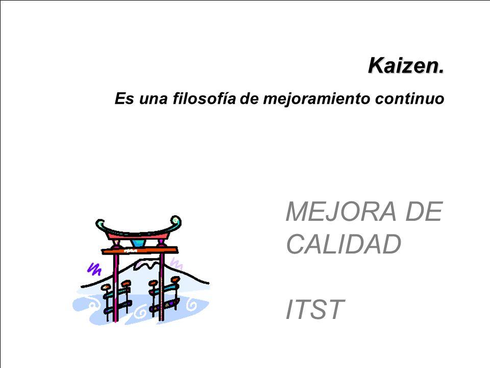Kaizen. Es una filosofía de mejoramiento continuo MEJORA DE CALIDAD ITST