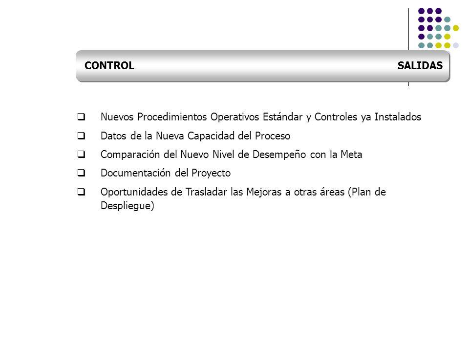 Nuevos Procedimientos Operativos Estándar y Controles ya Instalados Datos de la Nueva Capacidad del Proceso Comparación del Nuevo Nivel de Desempeño c