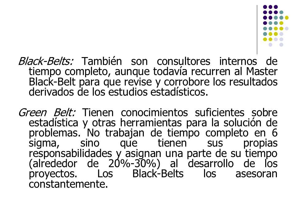 Black-Belts: También son consultores internos de tiempo completo, aunque todavía recurren al Master Black-Belt para que revise y corrobore los resulta