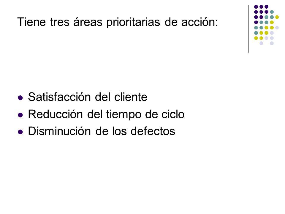 Tiene tres áreas prioritarias de acción: Satisfacción del cliente Reducción del tiempo de ciclo Disminución de los defectos