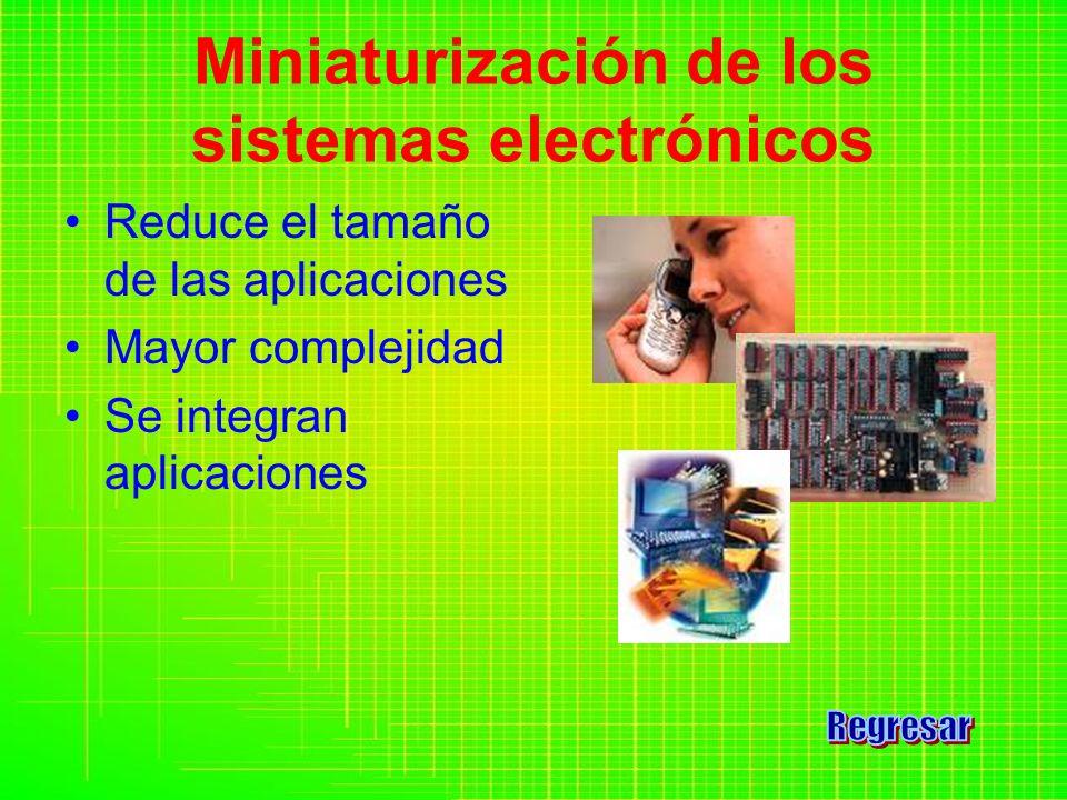 Reduce el tamaño de las aplicaciones Mayor complejidad Se integran aplicaciones Miniaturización de los sistemas electrónicos