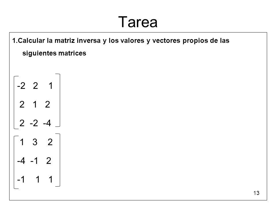 Tarea 1.Calcular la matriz inversa y los valores y vectores propios de las siguientes matrices -2 2 1 2 1 2 2 -2 -4 1 3 2 -4 -1 2 -1 1 1 13