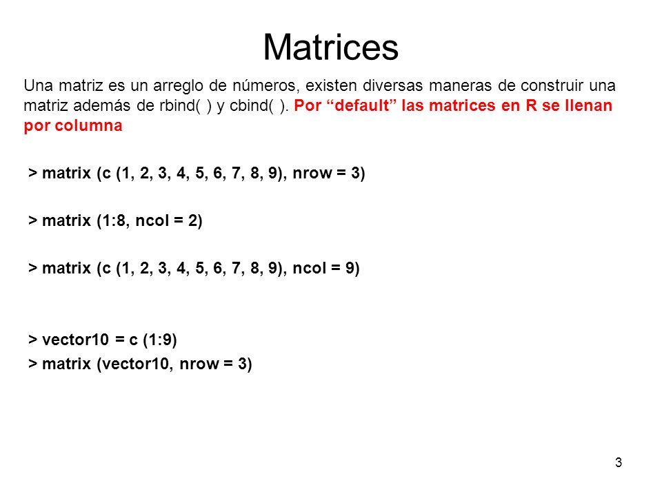 Matrices Una matriz es un arreglo de números, existen diversas maneras de construir una matriz además de rbind( ) y cbind( ). Por default las matrices