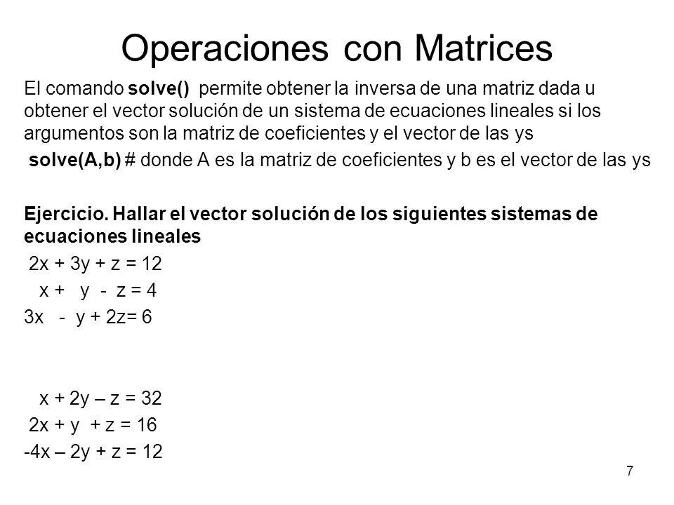 Operaciones con Matrices El comando solve() permite obtener la inversa de una matriz dada u obtener el vector solución de un sistema de ecuaciones lin