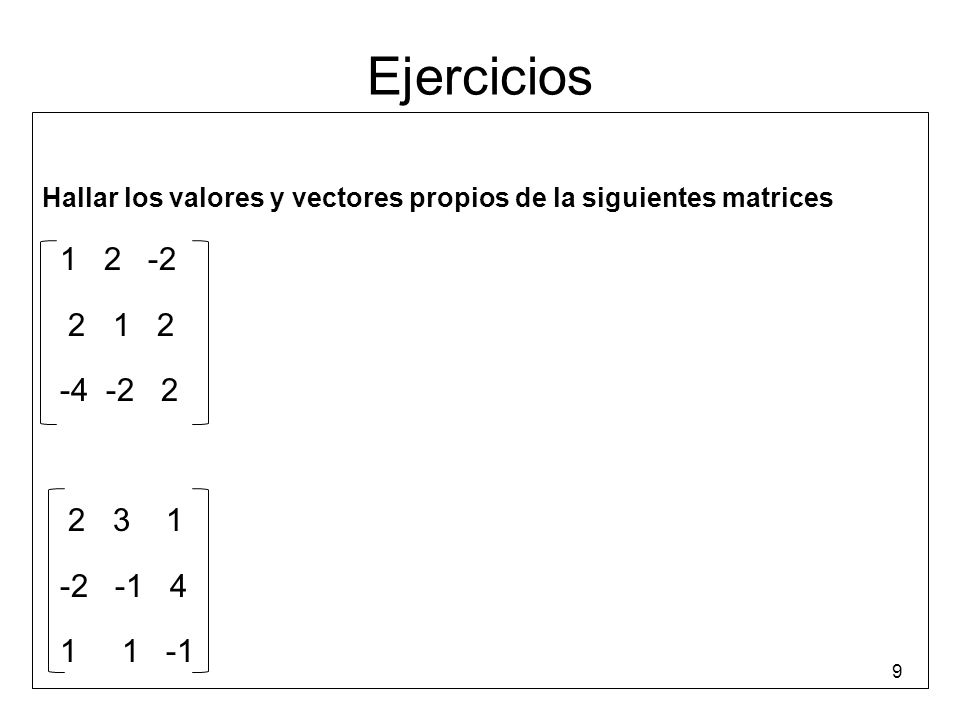 Ejercicios Hallar los valores y vectores propios de la siguientes matrices 1 2 -2 2 1 2 -4 -2 2 2 3 1 -2 -1 4 1 1 -1 9