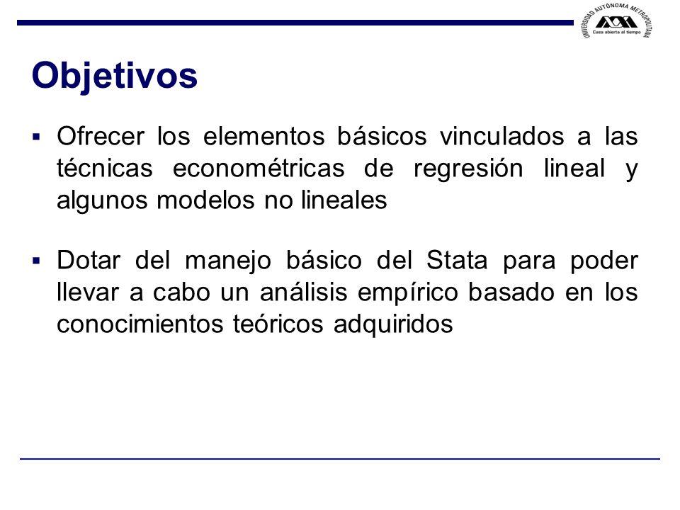 F.VELA / J. F. ISLAS / Suposiciones del modelo y el error estándar Suposiciones 1.