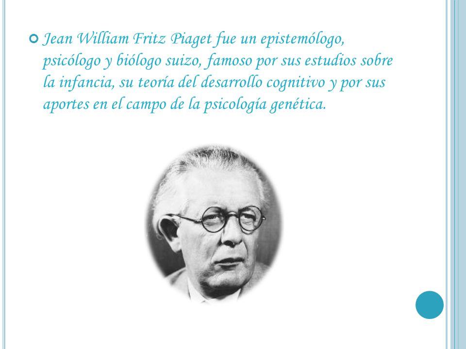 Jean William Fritz Piaget fue un epistemólogo, psicólogo y biólogo suizo, famoso por sus estudios sobre la infancia, su teoría del desarrollo cognitiv