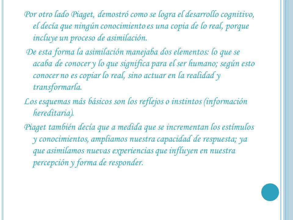 Por otro lado Piaget, demostró como se logra el desarrollo cognitivo, el decía que ningún conocimiento es una copia de lo real, porque incluye un proc