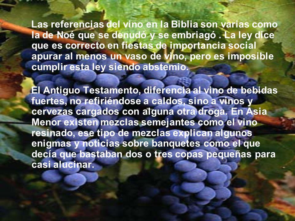 Las referencias del vino en la Biblia son varias como la de Noé que se denudó y se embriagó. La ley dice que es correcto en fiestas de importancia soc