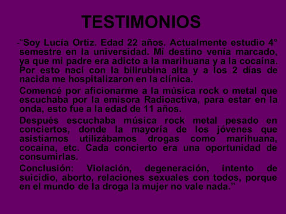 TESTIMONIOS -Soy Lucía Ortiz. Edad 22 años. Actualmente estudio 4° semestre en la universidad. Mí destino venía marcado, ya que mi padre era adicto a