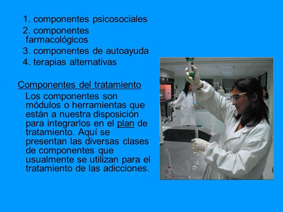 1. componentes psicosociales 2. componentes farmacológicos 3. componentes de autoayuda 4. terapias alternativas Componentes del tratamiento Los compon