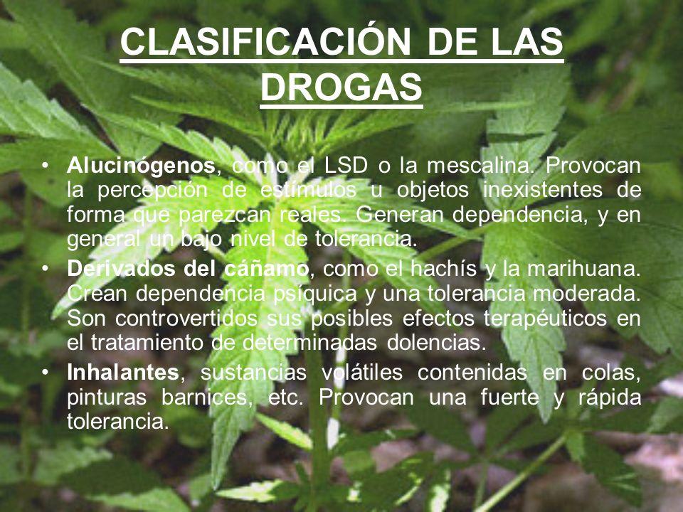 CLASIFICACIÓN DE LAS DROGAS Alucinógenos, como el LSD o la mescalina. Provocan la percepción de estímulos u objetos inexistentes de forma que parezcan