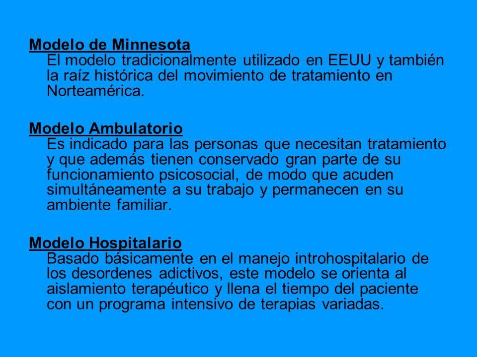 Modelo de Minnesota El modelo tradicionalmente utilizado en EEUU y también la raíz histórica del movimiento de tratamiento en Norteamérica. Modelo Amb