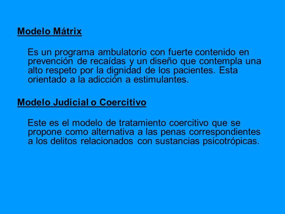 Modelo Mátrix Es un programa ambulatorio con fuerte contenido en prevención de recaídas y un diseño que contempla una alto respeto por la dignidad de