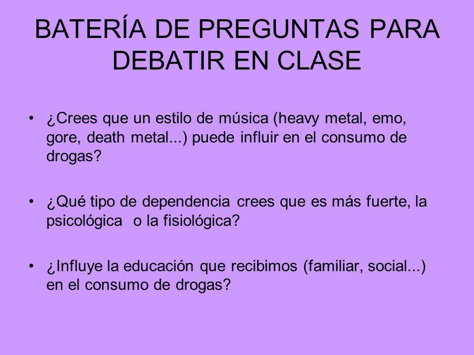 BATERÍA DE PREGUNTAS PARA DEBATIR EN CLASE ¿Crees que un estilo de música (heavy metal, emo, gore, death metal...) puede influir en el consumo de drog