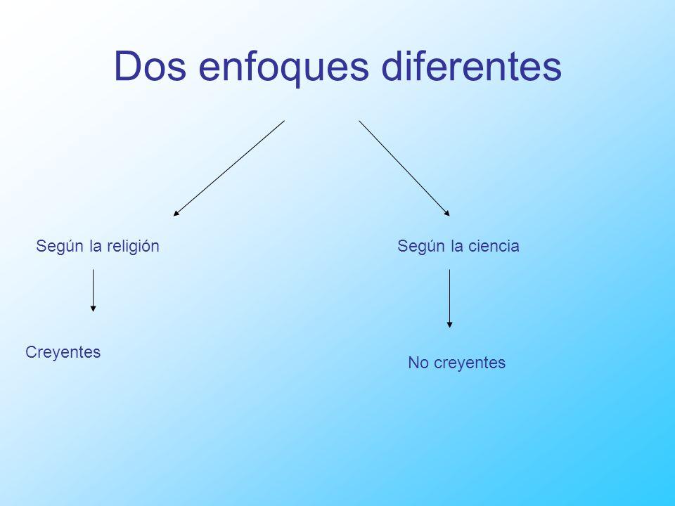 Dos enfoques diferentes Según la religiónSegún la ciencia Creyentes No creyentes
