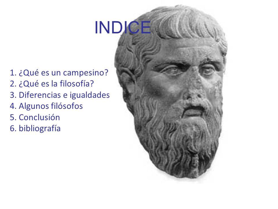 INDICE 1. ¿Qué es un campesino? 2. ¿Qué es la filosofía? 3. Diferencias e igualdades 4. Algunos filósofos 5. Conclusión 6. bibliografía