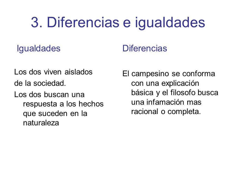 3. Diferencias e igualdades Igualdades Los dos viven aislados de la sociedad. Los dos buscan una respuesta a los hechos que suceden en la naturaleza D