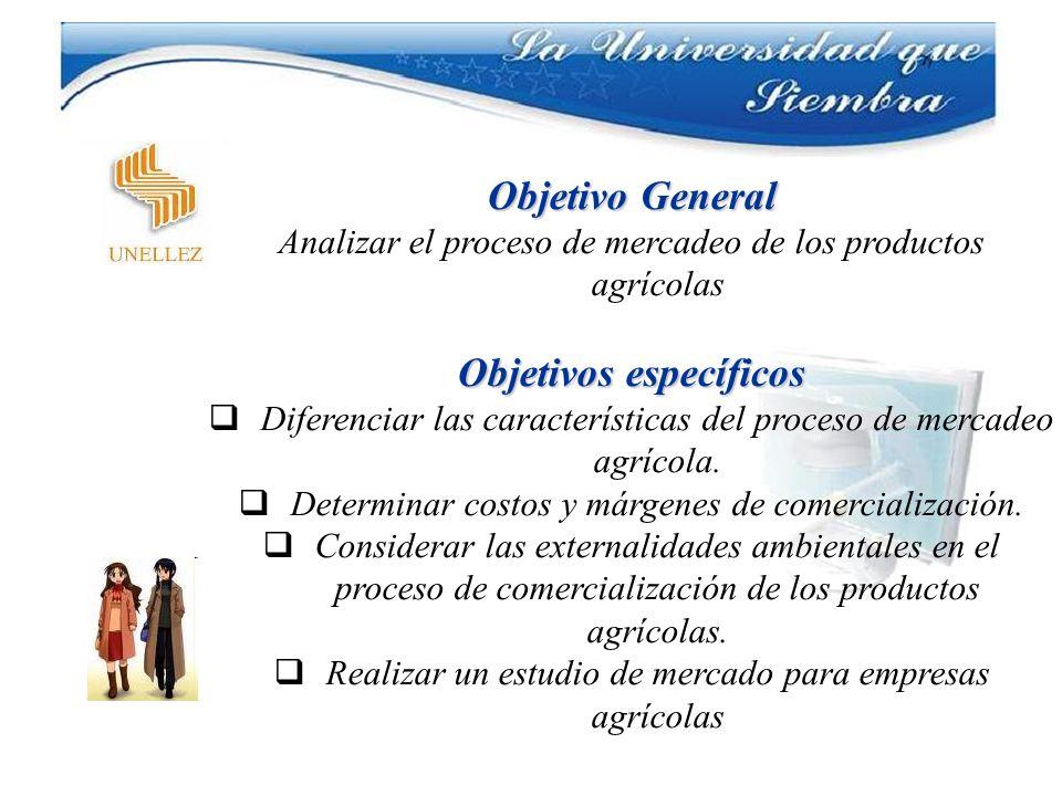 Objetivo General Analizar el proceso de mercadeo de los productos agrícolas Objetivos específicos Diferenciar las características del proceso de merca