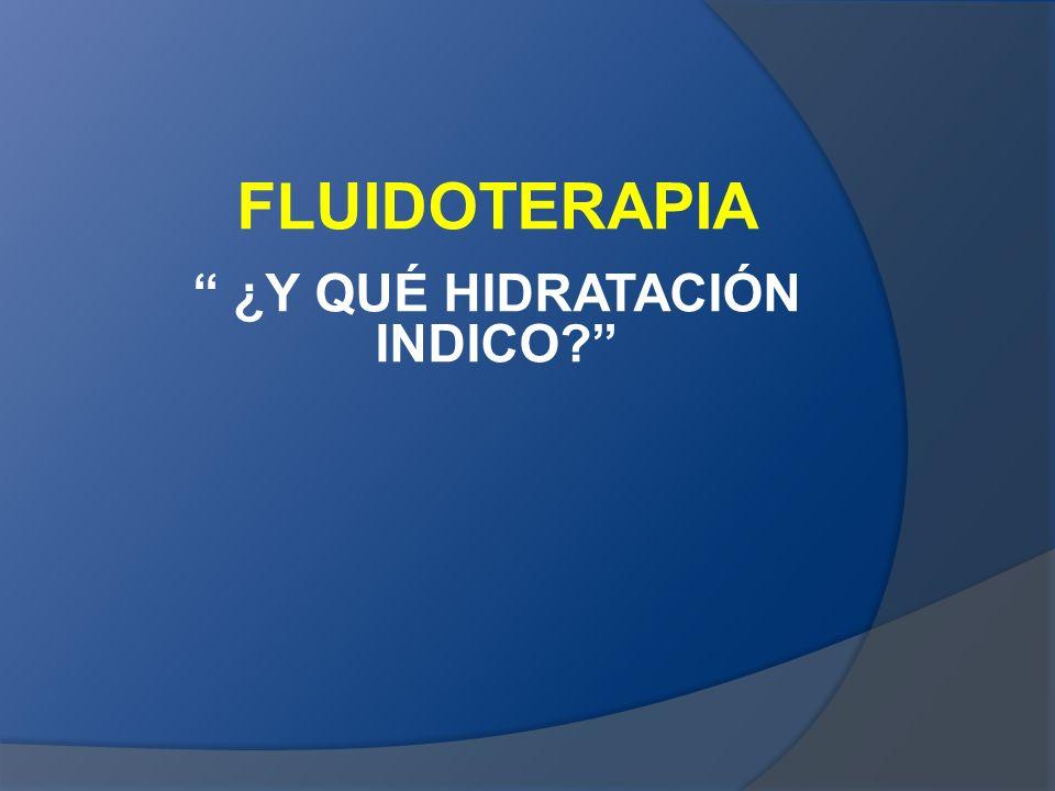 FLUIDOTERAPIA ¿Y QUÉ HIDRATACIÓN INDICO?