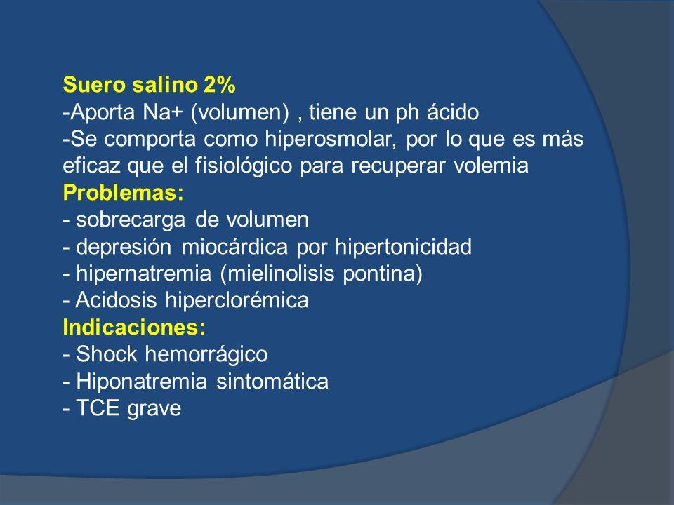 Suero salino 2% -Aporta Na+ (volumen), tiene un ph ácido -Se comporta como hiperosmolar, por lo que es más eficaz que el fisiológico para recuperar vo