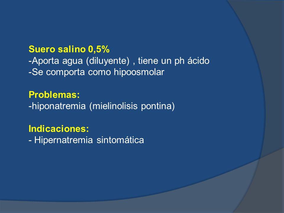 Suero salino 0,5% -Aporta agua (diluyente), tiene un ph ácido -Se comporta como hipoosmolar Problemas: -hiponatremia (mielinolisis pontina) Indicacion