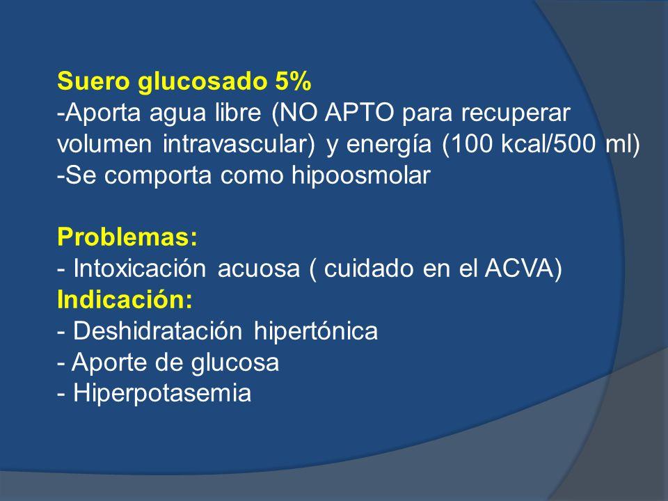 Suero glucosado 5% -Aporta agua libre (NO APTO para recuperar volumen intravascular) y energía (100 kcal/500 ml) -Se comporta como hipoosmolar Problem