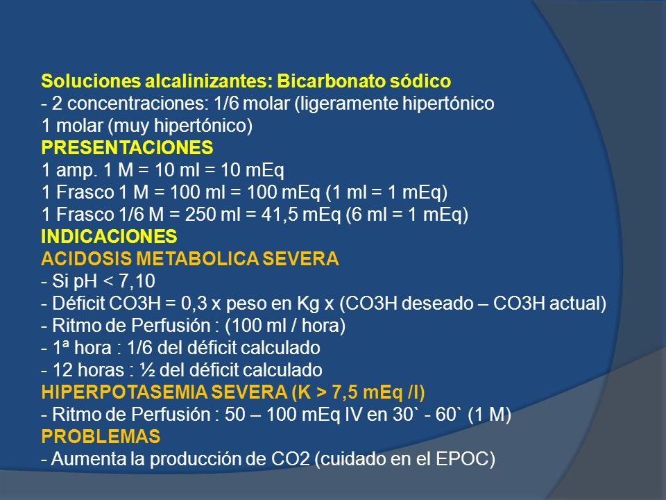Soluciones alcalinizantes: Bicarbonato sódico - 2 concentraciones: 1/6 molar (ligeramente hipertónico 1 molar (muy hipertónico) PRESENTACIONES 1 amp.
