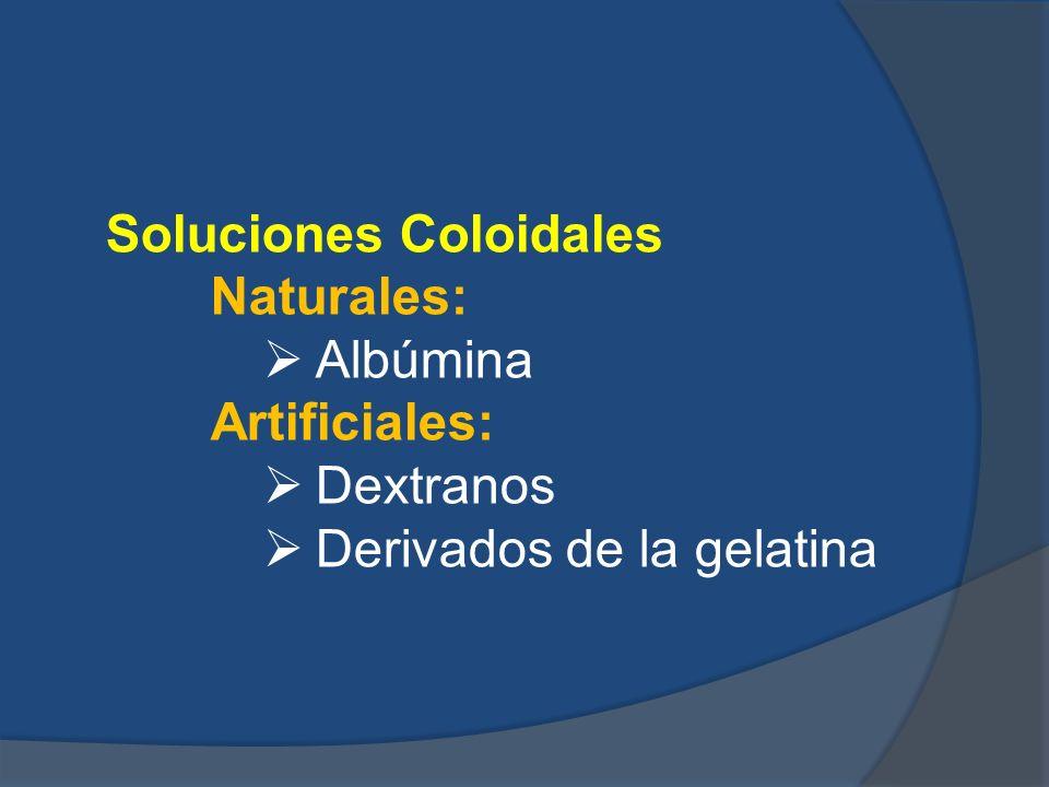 Soluciones Coloidales Naturales: Albúmina Artificiales: Dextranos Derivados de la gelatina