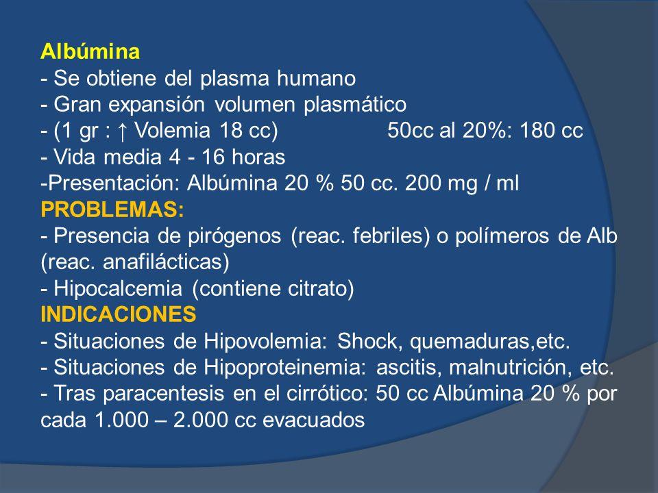 Albúmina - Se obtiene del plasma humano - Gran expansión volumen plasmático - (1 gr : Volemia 18 cc) 50cc al 20%: 180 cc - Vida media 4 - 16 horas -Pr